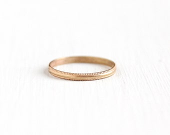 Vintage 10k Rose Gold Baby Ring Band - Art Deco 1930s Size 1 3/4 Midi Knuckle Eternity Milgrain Children's Small Dainty Fine Jewelry