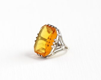 Sale - Vintage Art Deco Sterling Silver Simulated Citrine Ring - Antique 1920s Size 5 Filigree Orange Yellow Stone Statement Jewelry