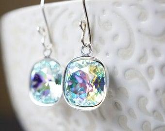 Earrings, Silver Earrings, Crystal Earrings, Dangle Earrings, Drop Earrings, Aqua Earrings, Cushion Cut, Handmade Earrings, Gift for Her