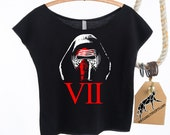 KYLO REN Star Wars 7, The Force Awakens. Women's Crop Top in Black Cotton Terry Off-The-Shoulder w/Raw Edges. Wear This Shirt Opening Night!