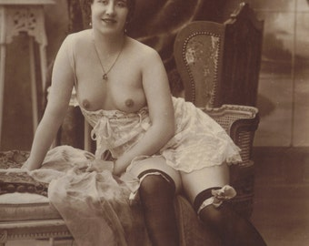 Agelou Lounging Nude, Risque French Postcard, circa 1910s