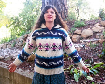Vintage sweater wool Hand made Wool Equador M