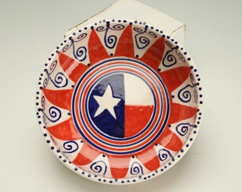 Americana Bowl Red White and Blue Stars and Stripes Hand Painted Colorful Personal Bowl or Small Serving