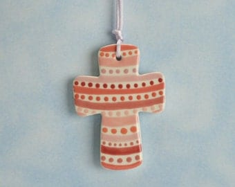 Pink Stripes and Dots Small Cross Ornament Hand Painted