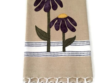 Linen colored dish towel  purple  appliqué flowers