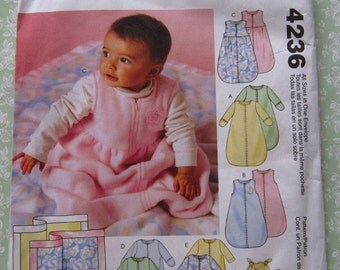 Baby Buntings, Jumpsuits, Hat and Blanket Sizes S M L XL UNCUT McCalls Pattern 4236