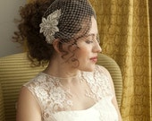 Birdcage veil with beaded hair comb , beautiful bridal hair accessory. ivory or champagne birdcage veil