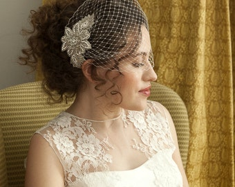 Birdcage veil with Beaded Hair Comb , Beautiful Bridal Hair accessory, Ivory or Champagne Birdcage Veil
