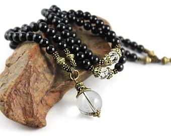 Black Onyx Mala Necklace, Natural Quartz, Gemstone Necklace, Prayer Beads, 108 Mala Beads, Yoga Style, Yoga Necklace, Meditation, Healing