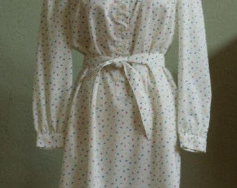 """Vintage 80's Schrader Sport Petites White Shirtdress Small Triangles and Pin Dots in Primary Colors Bust 42"""" Waist 42"""""""