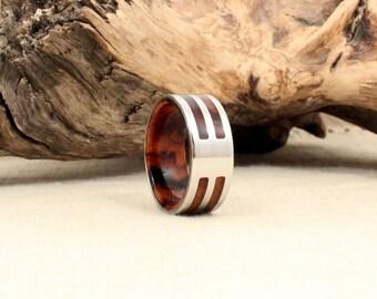 Arizona Desert Ironwood Burl and Cobalt Ring