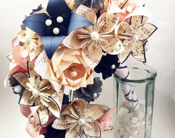 Sheet Music Cascading Bouquet- Paper flower Bridal Bouquet, one of a kind origami, lace, kusudama, paper roses & lilies, your color scheme