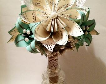 Lace Pearls & Burlap Bridal Bouquet- one of a kind paper bouquet, origami, paper flower wedding bouquet, brides bouquet