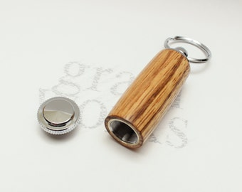 Wood Deluxe Pill Holder Key Chain - Zebrawood with Chrome Accents (Gift Ready)