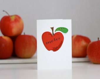 "Teacher Card ""MERCI"" - Teacher Card with Red Apple accented with glitter"