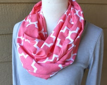 Infinity Scarf, Coral Pink and White Geometric Jersey Scarf, Circle Scarf, Women's Cowl, Woman's Spring Scarf, Pretty Pink White Accessory