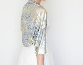 Wedding shrug , gold bridal shrug , over sized wedding bolero, bridal gold kimono, gray and gold shrug