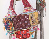 Vintage handmade Banjara Bag,Ethnic Embroidered Fabric Tote Bag,Tribal Bohemian lady Purse,Multi color embellished by Inali OOAK model #RJ03