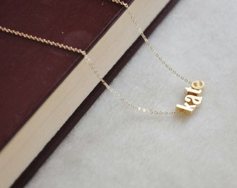 Gold Name Necklace - Lowercase Block Letters, Dainty Necklace, Personalized Necklace, Custom Name Necklace, 14K Gold Filled Chain