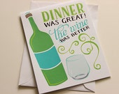 Dinner Party Thank You Card - Friends Thank You Card - Funny Card - A2 Greeting Card - Humorous Birthday Card - Funny Birthday Card