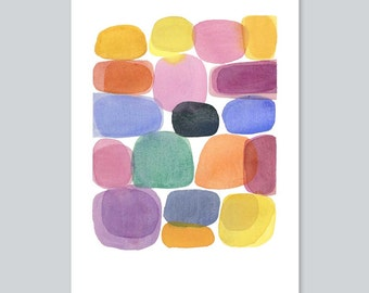 watercolor painting - Color blocks - Abstract painting - watercolor print