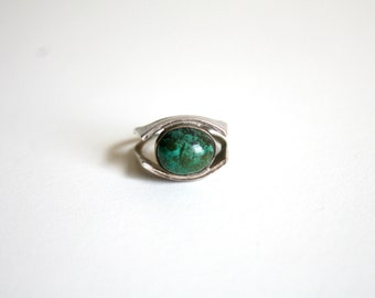 Evil Eye Turquoise Silver Ring 5.5