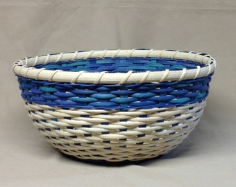 Hand Woven Round Bowl-Type Basket, Teal and Royal Blue Accent Weaving, Wood Base, Twill Weave