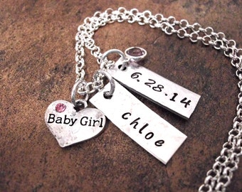 New Baby Necklace, Birth Date Jewelry, Personalized Mom Necklace, New Mom Jewelry, Birth Jewelry, Baby Boy or Baby Girl Jewelry