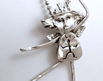 Angel Pattyn Lets Go And Has Fun - Up Cycled Sterling And PMC - Echo Friendly - Art Jewelry Pendant - 597