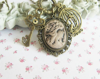 Bronze charm necklace, vintage inspired jewelry, for her, key necklace, Europe