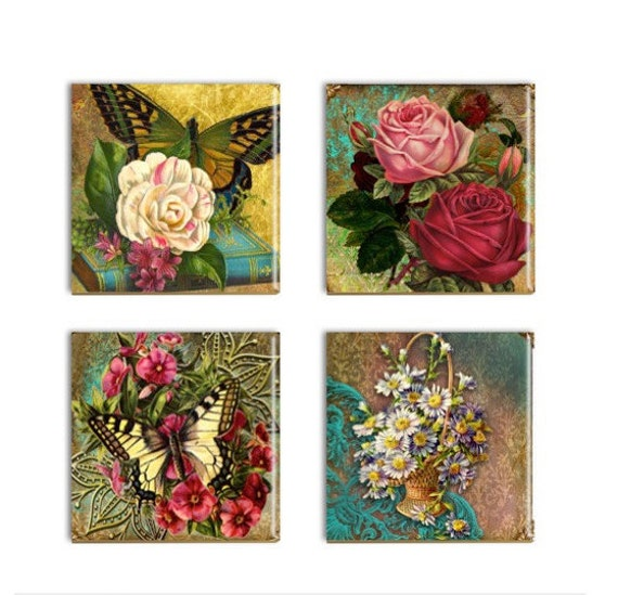 Butterflies flowers coasters ceramic drink coasters sublimated for Best coasters for sweaty drinks