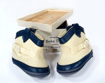 Vintage Baby Cowboy Boot Shoes, Felt & Leather, Original Box, Size 1, Baby Shower