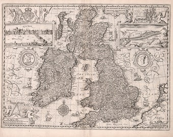 Historical Map of England, Great Britain, 17th Century, Fine Art Reproduction MP002