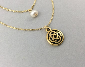 Celtic gold necklace, pearl necklace, celtic charm necklace, celtic knot, irish jewelry, irish wedding, celtic jewelry, celtic trinity knot