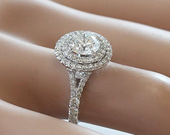 14k white gold round cut forever one moissanite and diamond engagement ring art deco 1.85ctw