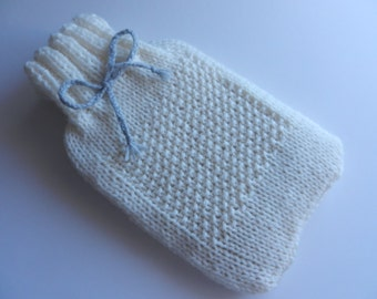 hot water bottle cover chunky knit cream grey get well gift for her