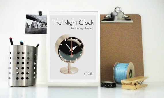 The Night Clock Art Print - Designer Item by George Nelson - Vintage Style Clock - Vintage Wall - American Design - Home Decor Office Decor