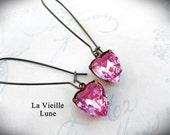 Pink Heart Earrings, Victorian Jewel Earrings, Valentine Jewelry