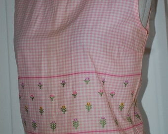 1960s Pink Gingham Cropped Cotton Button Back Blouse, Top, Shirt, NWT, Size S/M