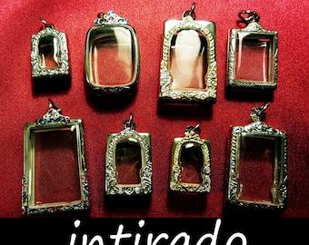 Intirado, Terrarium, Shadow Box Pendants, Lockets, Vial, Phial, Reliquary, Craft Display Cases, Diorama, Supplies, Silver tone Metal, 8pcs