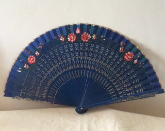 Regency/Victorian Style Fan. Hand painted, Wood. Royal Blue, Red flowers.