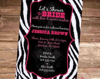 PINK ZEBRA BLING Bridal Shower Invitation - 4x6 Digital File