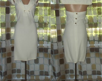 Vintage 80s Dress | 1980s Sailor Dress | Designer Vintage | Sonia Rykiel Paris Dress | Ivory Nautical Cruise | Size 42 S/M