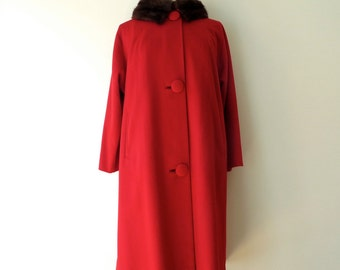 Vintage 1950's/Red Coat Mink Collar Medium/50's Red Wool Coat Fur Collar/Red Lambswool Coat/Mid Century Coat/Real Fur Collar/Medium
