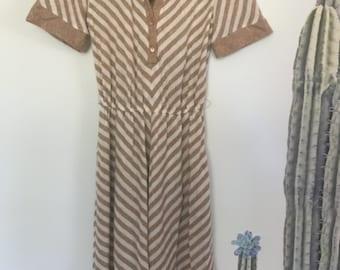 Vintage 70s Neutral Deadstock Chevron Shirt Dress