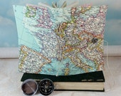Larger Europe Map Travel Journal with Colorful Detailed Vintage Europe Canvas Cover