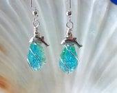 Teardrop dolphin beach earrings silver wire wrapped earrings tuquoise crackle glass earrings