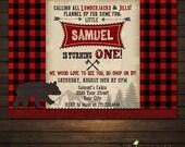 Lumberjack Birthday Invitation, Lumberjack Photo Invite, Printable Lumberjack Invitation, Rustic, Lumberjack Birthday, Bear Invitation