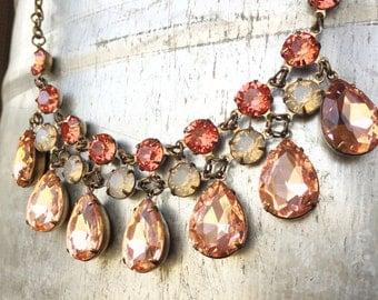 Blush Wedding Necklace - Blush Bridal Jewelry - Crystal Statement Necklace - Chunky Bib Necklace - Blush Wedding Jewelry