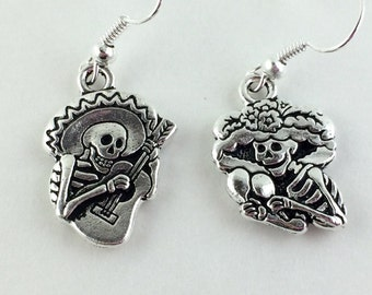 Sterling Silver Sugar Skull Earrings - Dia De Los Muertos Wedding - Day of the Dead Jewelry - Weird Mismatch Skeleton Earrings 146 147